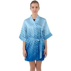 Blue Dot Pattern Quarter Sleeve Kimono Robe