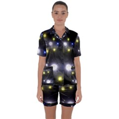 Abstract Dark Spheres Psy Trance Satin Short Sleeve Pyjamas Set