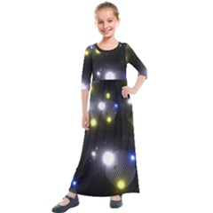 Abstract Dark Spheres Psy Trance Kids  Quarter Sleeve Maxi Dress by Jojostore