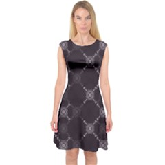 Abstract Seamless Pattern Capsleeve Midi Dress
