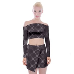 Abstract Seamless Pattern Off Shoulder Top With Mini Skirt Set