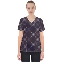 Abstract Seamless Pattern Women s V Neck Scrub Top