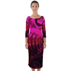 Abstract Bubble Background Quarter Sleeve Midi Bodycon Dress