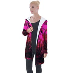 Abstract Bubble Background Longline Hooded Cardigan