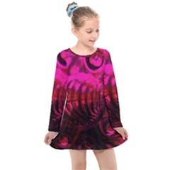 Abstract Bubble Background Kids  Long Sleeve Dress
