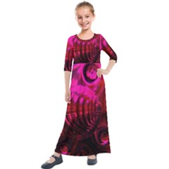 Abstract Bubble Background Kids  Quarter Sleeve Maxi Dress by Jojostore