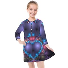 Blue Heart Kids  Quarter Sleeve Shirt Dress