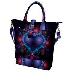 Blue Heart Buckle Top Tote Bag