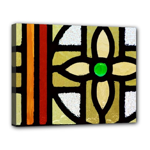 A Detail Of A Stained Glass Window Canvas 14  X 11  (stretched) by Jojostore