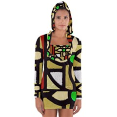 A Detail Of A Stained Glass Window Long Sleeve Hooded T Shirt by Jojostore
