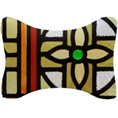A Detail Of A Stained Glass Window Seat Head Rest Cushion by Jojostore
