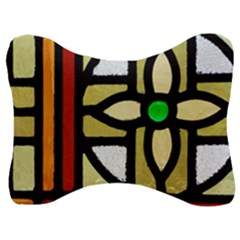 A Detail Of A Stained Glass Window Velour Seat Head Rest Cushion by Jojostore
