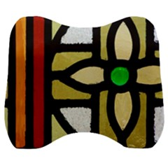 A Detail Of A Stained Glass Window Velour Head Support Cushion by Jojostore