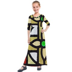 A Detail Of A Stained Glass Window Kids  Quarter Sleeve Maxi Dress