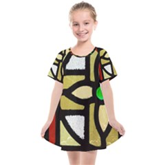 A Detail Of A Stained Glass Window Kids  Smock Dress