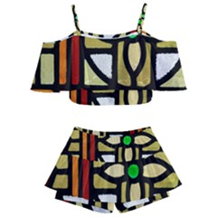 A Detail Of A Stained Glass Window Kids  Off Shoulder Skirt Bikini