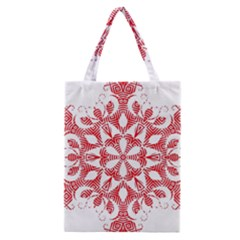 Red Pattern Filigree Snowflake On White Classic Tote Bag