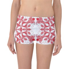 Red Pattern Filigree Snowflake On White Reversible Boyleg Bikini Bottoms
