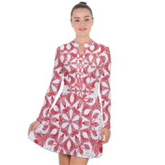 Red Pattern Filigree Snowflake On White Long Sleeve Panel Dress