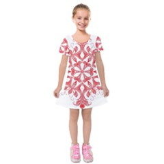Red Pattern Filigree Snowflake On White Kids  Short Sleeve Velvet Dress