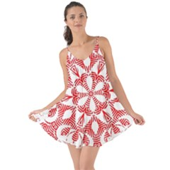 Red Pattern Filigree Snowflake On White Love The Sun Cover Up