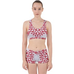 Red Pattern Filigree Snowflake On White Work It Out Gym Set