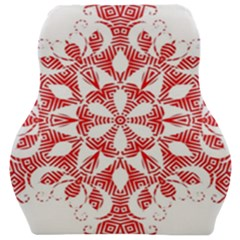 Red Pattern Filigree Snowflake On White Car Seat Velour Cushion  by Jojostore