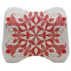 Red Pattern Filigree Snowflake On White Velour Head Support Cushion by Jojostore