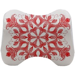 Red Pattern Filigree Snowflake On White Head Support Cushion by Jojostore