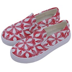 Red Pattern Filigree Snowflake On White Kids  Canvas Slip Ons by Jojostore