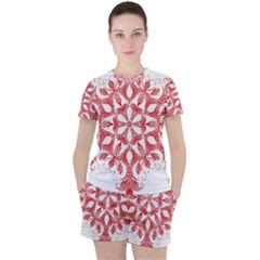 Red Pattern Filigree Snowflake On White Women s Tee And Shorts Set