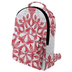 Red Pattern Filigree Snowflake On White Flap Pocket Backpack (small)