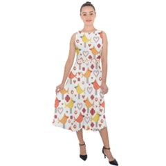 Animal Pattern Happy Birds Seamless Pattern Midi Tie Back Chiffon Dress