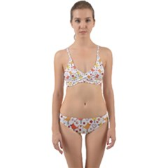 Animal Pattern Happy Birds Seamless Pattern Wrap Around Bikini Set
