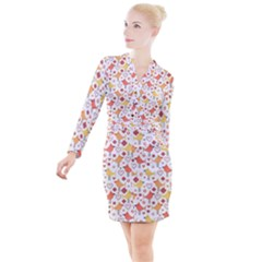 Animal Pattern Happy Birds Seamless Pattern Button Long Sleeve Dress