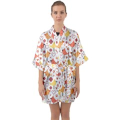 Animal Pattern Happy Birds Seamless Pattern Quarter Sleeve Kimono Robe by Jojostore