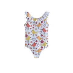 Animal Pattern Happy Birds Seamless Pattern Kids  Frill Swimsuit by Jojostore