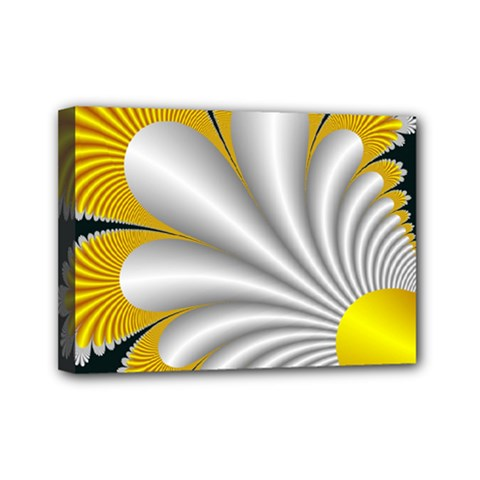 Fractal Gold Palm Tree On Black Background Mini Canvas 7  X 5  (stretched)