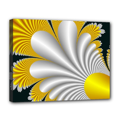 Fractal Gold Palm Tree On Black Background Canvas 14  X 11  (stretched) by Jojostore