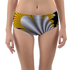 Fractal Gold Palm Tree On Black Background Reversible Mid Waist Bikini Bottoms
