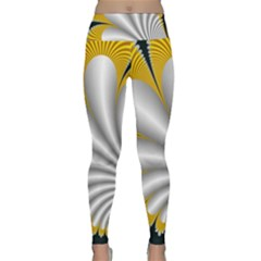 Fractal Gold Palm Tree On Black Background Lightweight Velour Classic Yoga Leggings