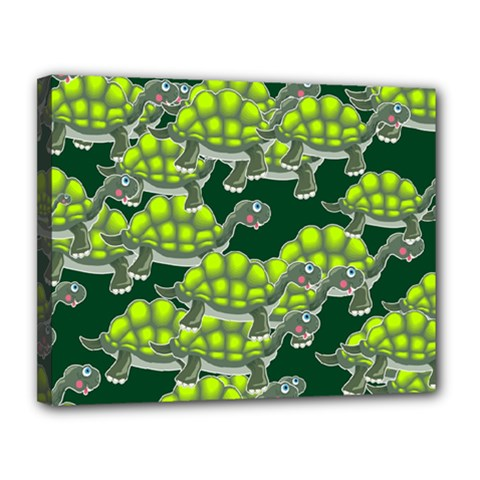 Seamless Tile Background Abstract Turtle Turtles Canvas 14  X 11  (stretched)