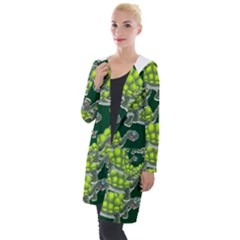 Seamless Tile Background Abstract Turtle Turtles Hooded Pocket Cardigan by Jojostore