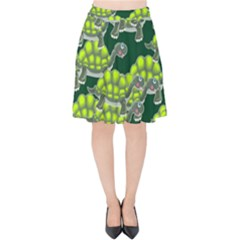 Seamless Tile Background Abstract Turtle Turtles Velvet High Waist Skirt