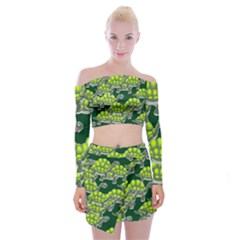 Seamless Tile Background Abstract Turtle Turtles Off Shoulder Top With Mini Skirt Set