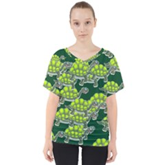 Seamless Tile Background Abstract Turtle Turtles V Neck Dolman Drape Top