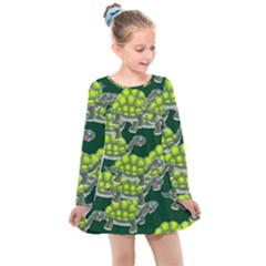 Seamless Tile Background Abstract Turtle Turtles Kids  Long Sleeve Dress by Jojostore