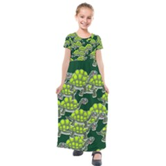 Seamless Tile Background Abstract Turtle Turtles Kids  Short Sleeve Maxi Dress