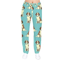 Dog Animal Pattern Velvet Drawstring Pants