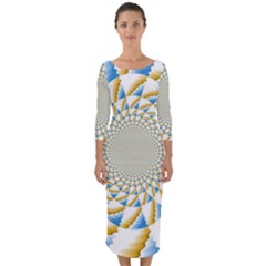 Tech Neon And Glow Backgrounds Psychedelic Art Psychedelic Art Quarter Sleeve Midi Bodycon Dress by Jojostore